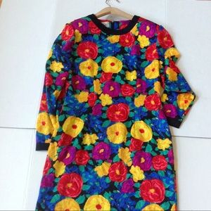 Vintage Papell Flower Power Yellow Pink Dress